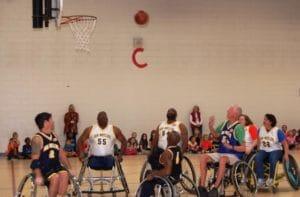 Sunwheelers playing basketball at Kempsville Elementary